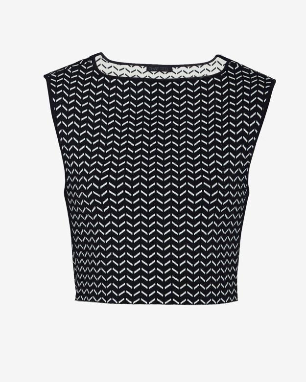 Knit Crop Top Pattern : Ohne titel Chevron Pattern Knit Crop Top in Black Lyst