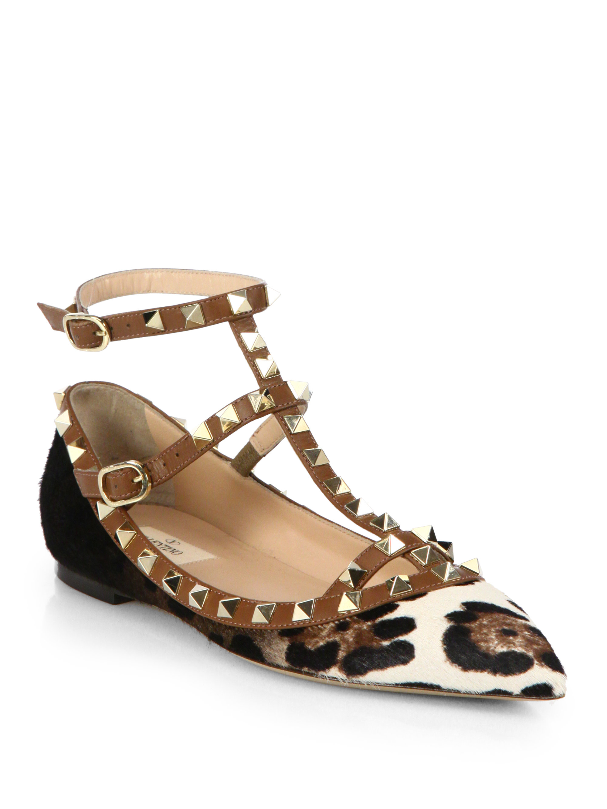 Valentino Rockstud Leopard-Print Calf Hair Cage Flats in Animal (LEOPARD) | Lyst