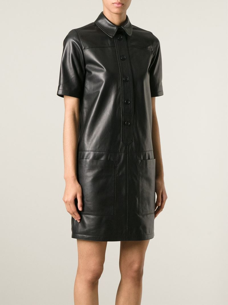 Lyst Burberry Brit Leather Shirt Dress In Black