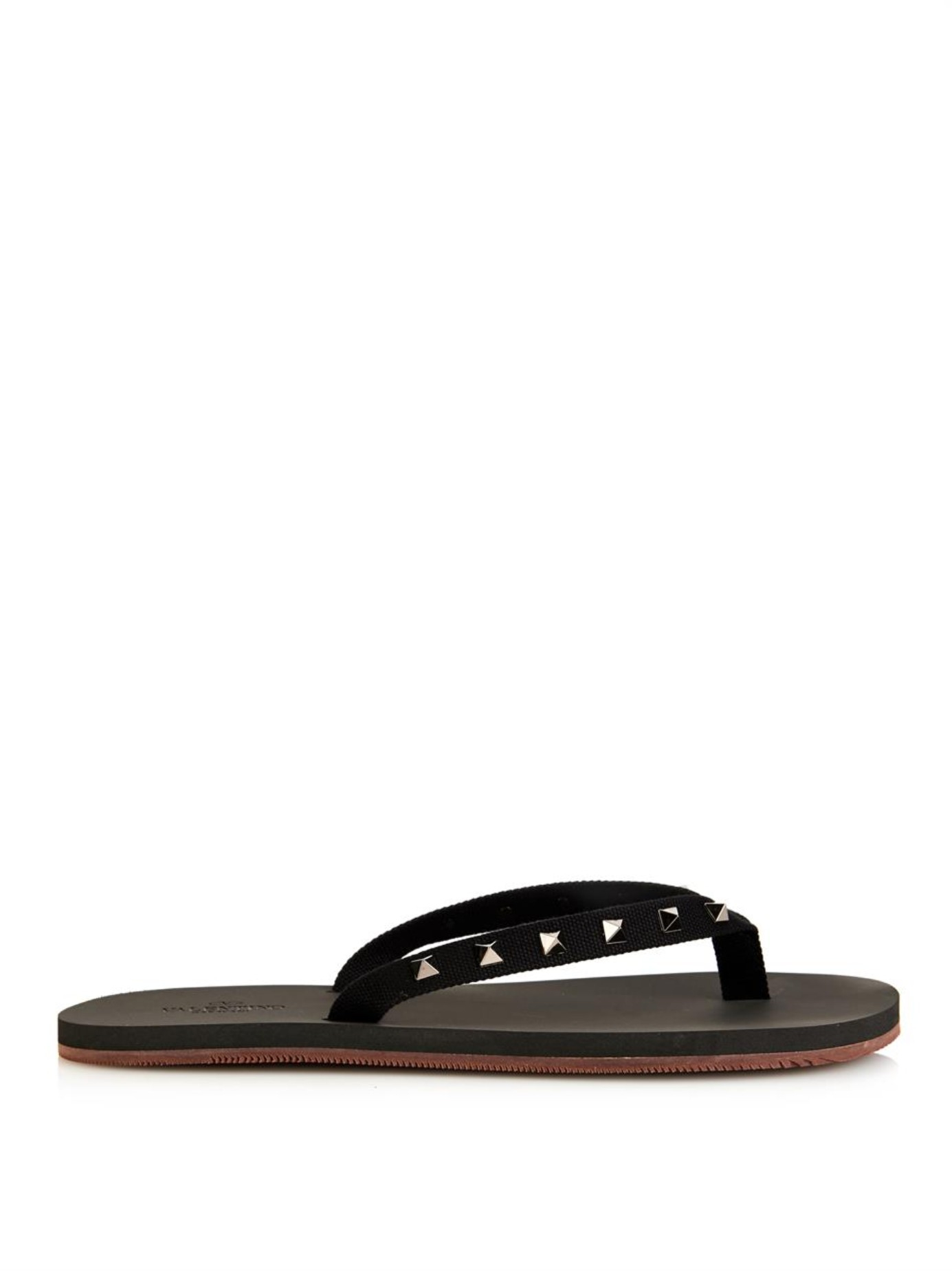 valentino studded canvas and rubber flip flops in black for men lyst. Black Bedroom Furniture Sets. Home Design Ideas