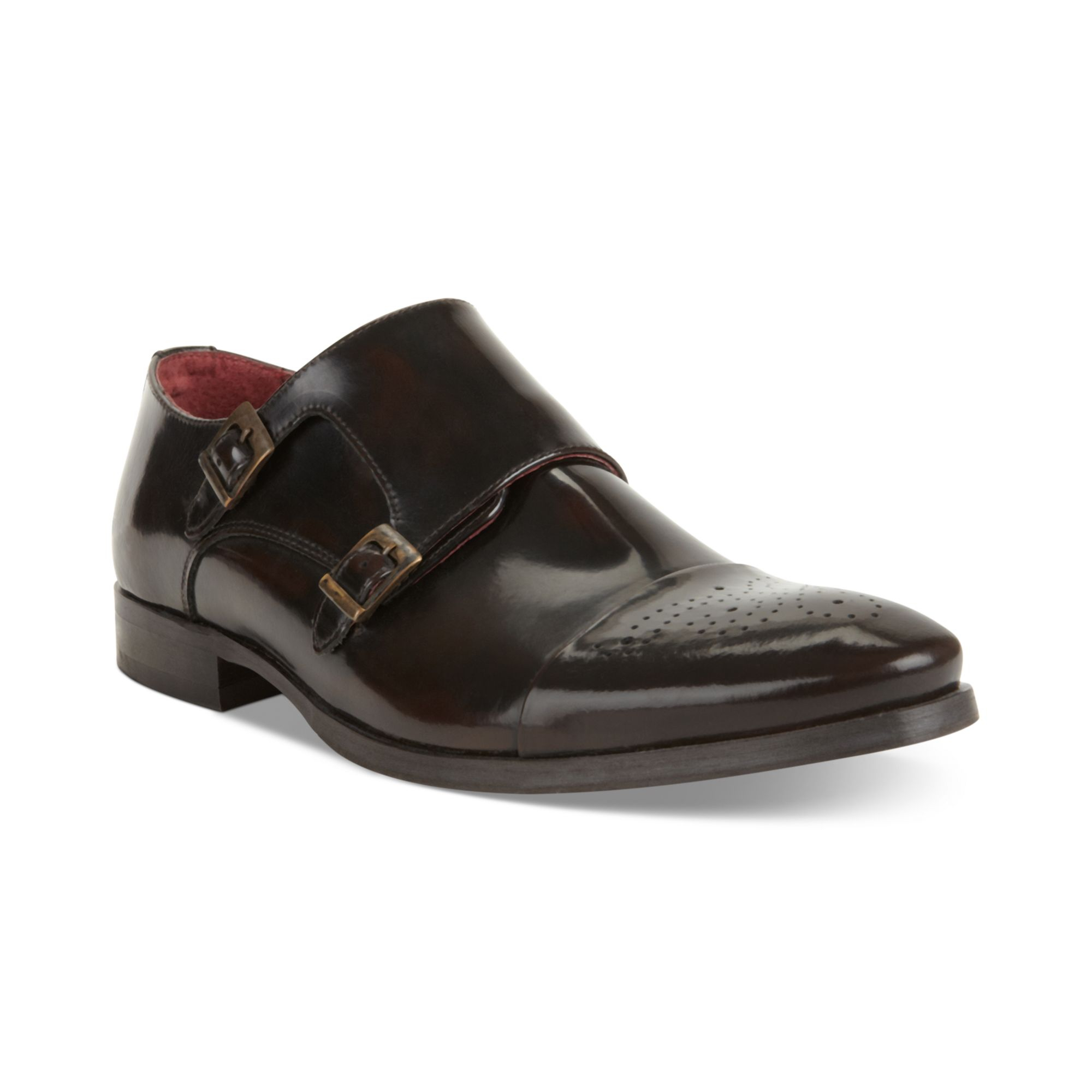 Brown Leather Monk Strap Shoes Dune