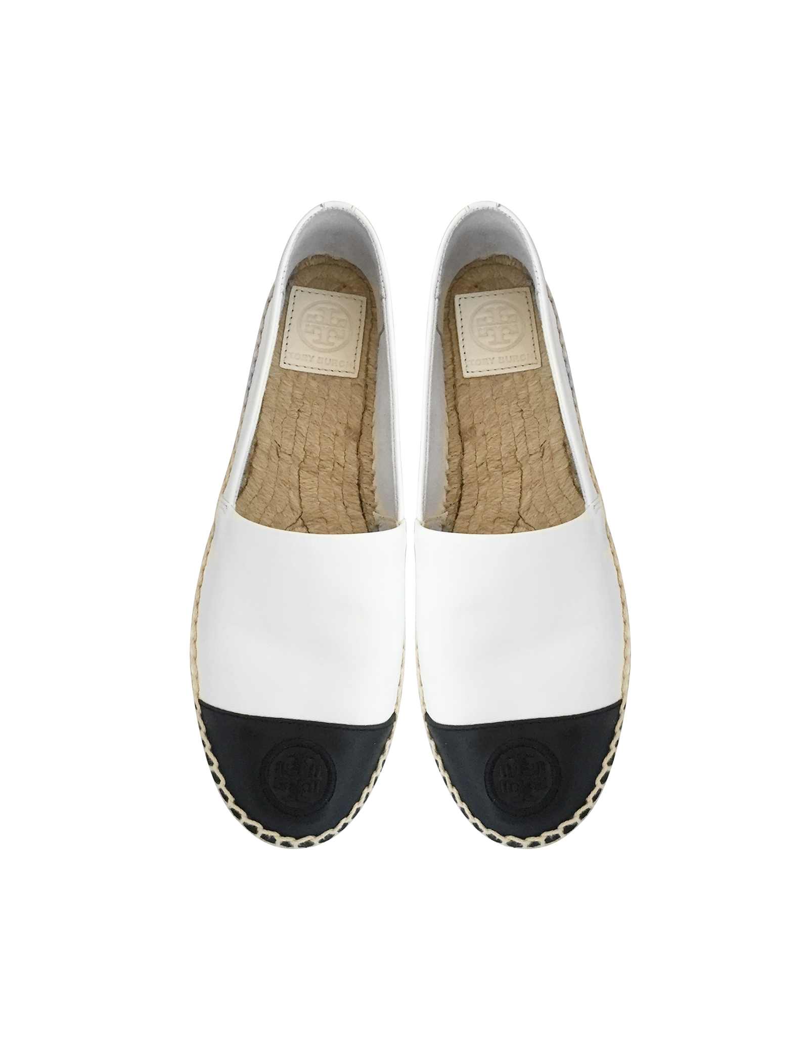 1706c567783 Lyst - Tory Burch Color Block Leather Flat Espadrille in White