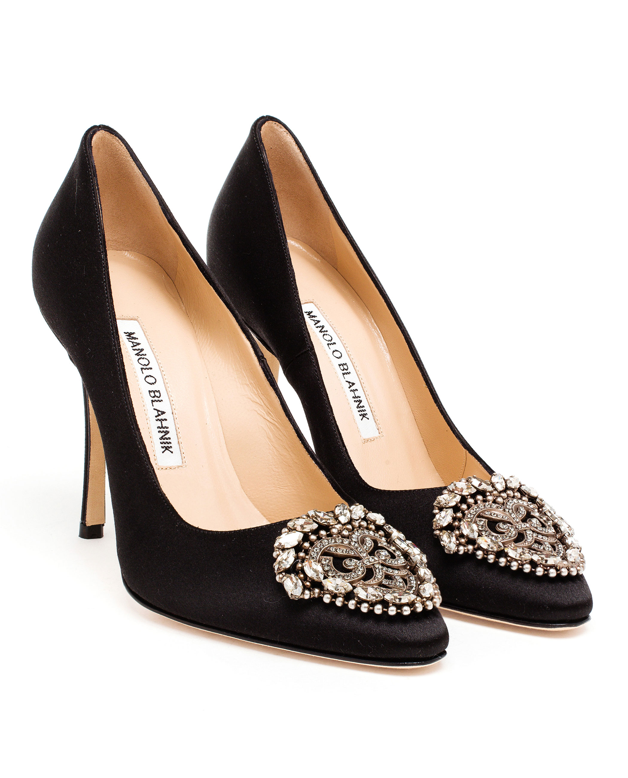Manolo blahnik okkava satin pumps in black lyst for Shoes by manolo blahnik