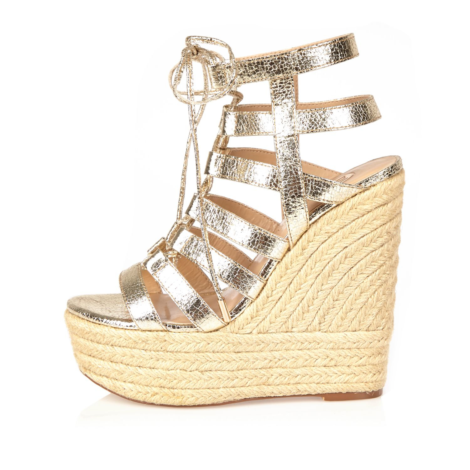 Lyst River Island Gold Gladiator Wedges In Metallic