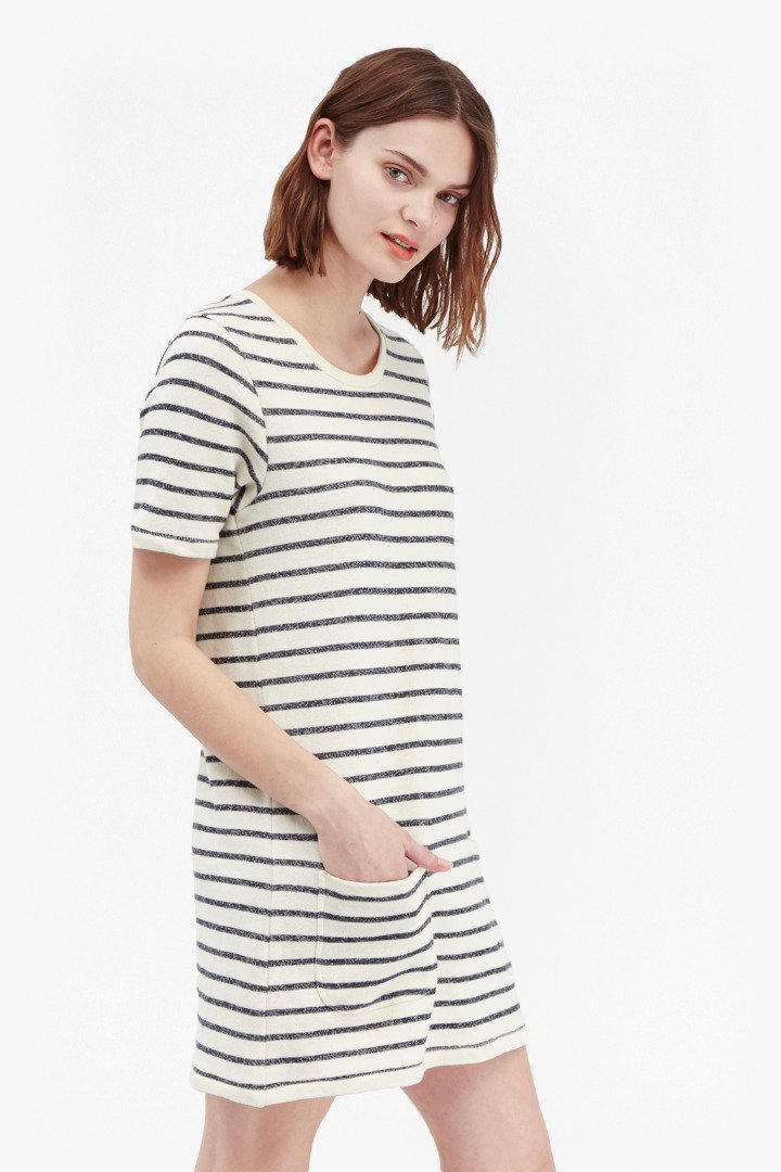 French Connection Normandy Stripe T Shirt Dress In Blue