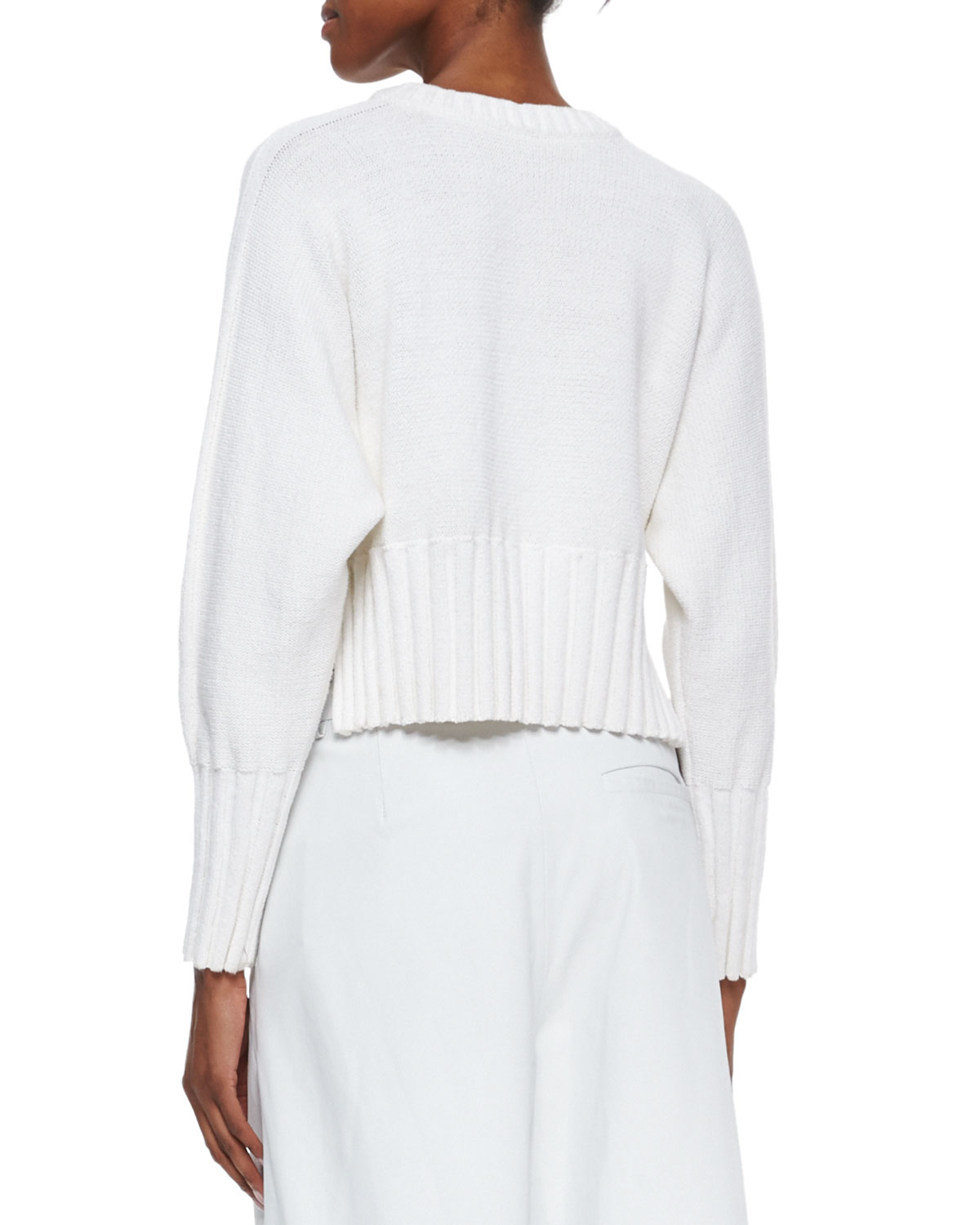 T by alexander wang Chunky Knit Cropped Pullover Sweater in White ...