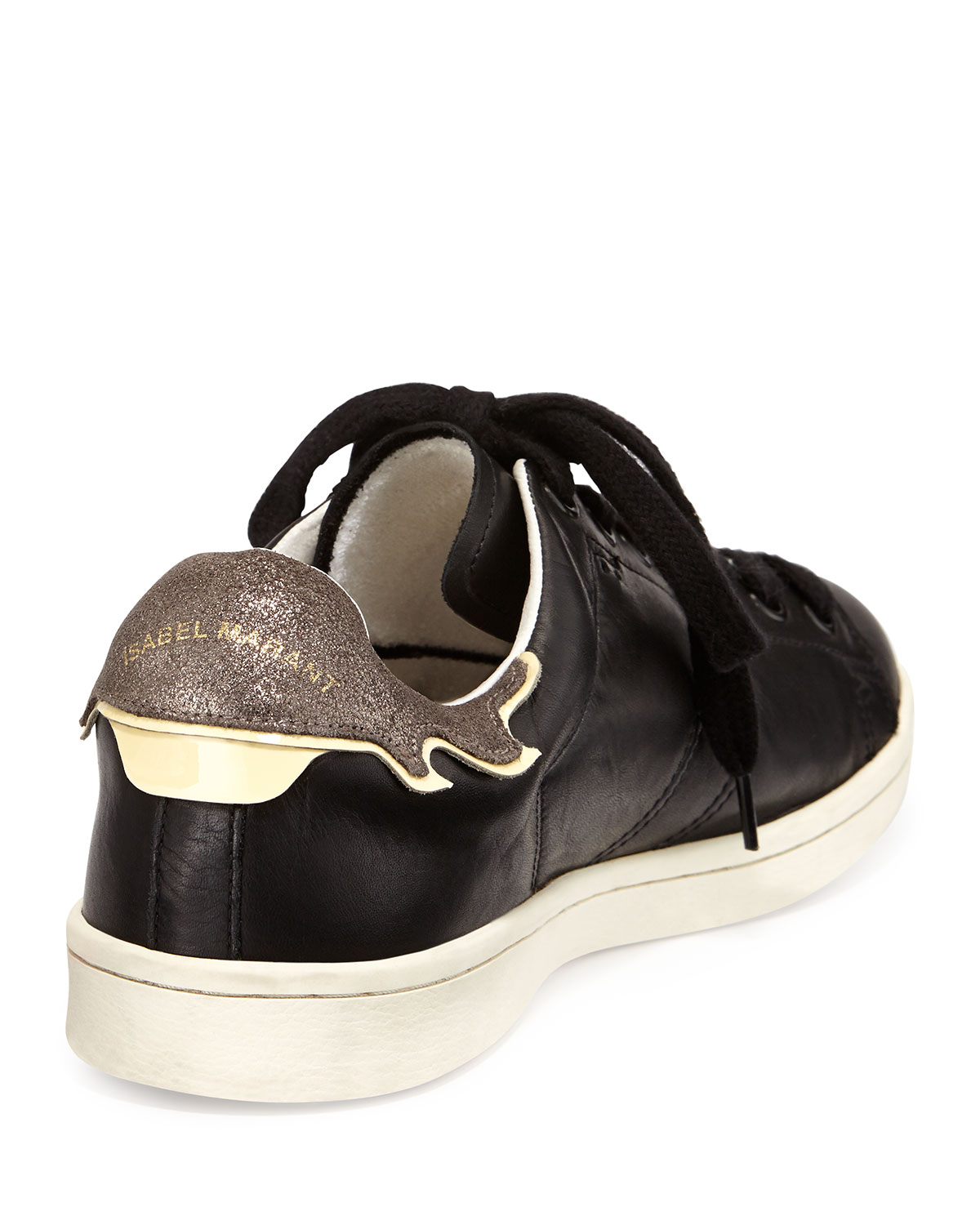 c7cbc00db3e Isabel Marant Flame-detailed Leather Low-top Sneaker in Black - Lyst