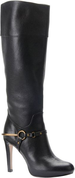 Isola Emma Leather Stiletto Boots In Black in Black