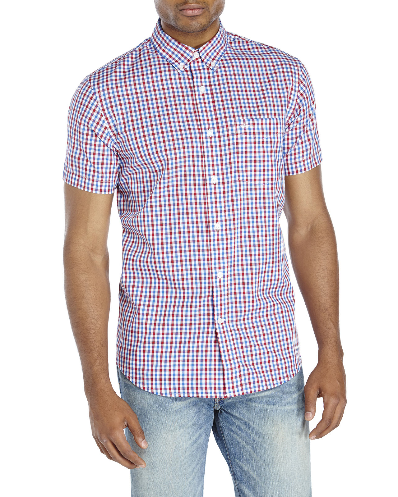 Lyst dockers blue red gingham button down shirt in for Blue gingham button down shirt