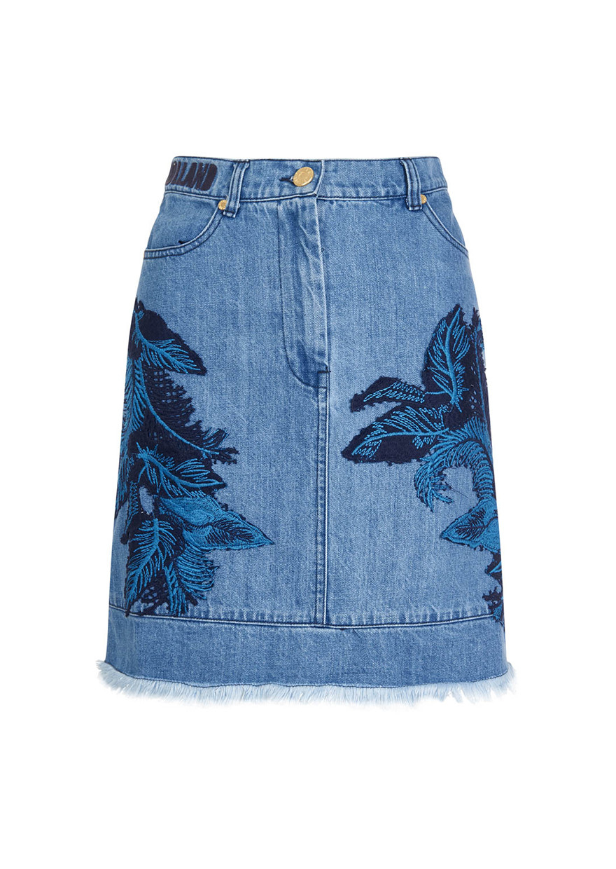 house of denim lace skirt in blue lyst