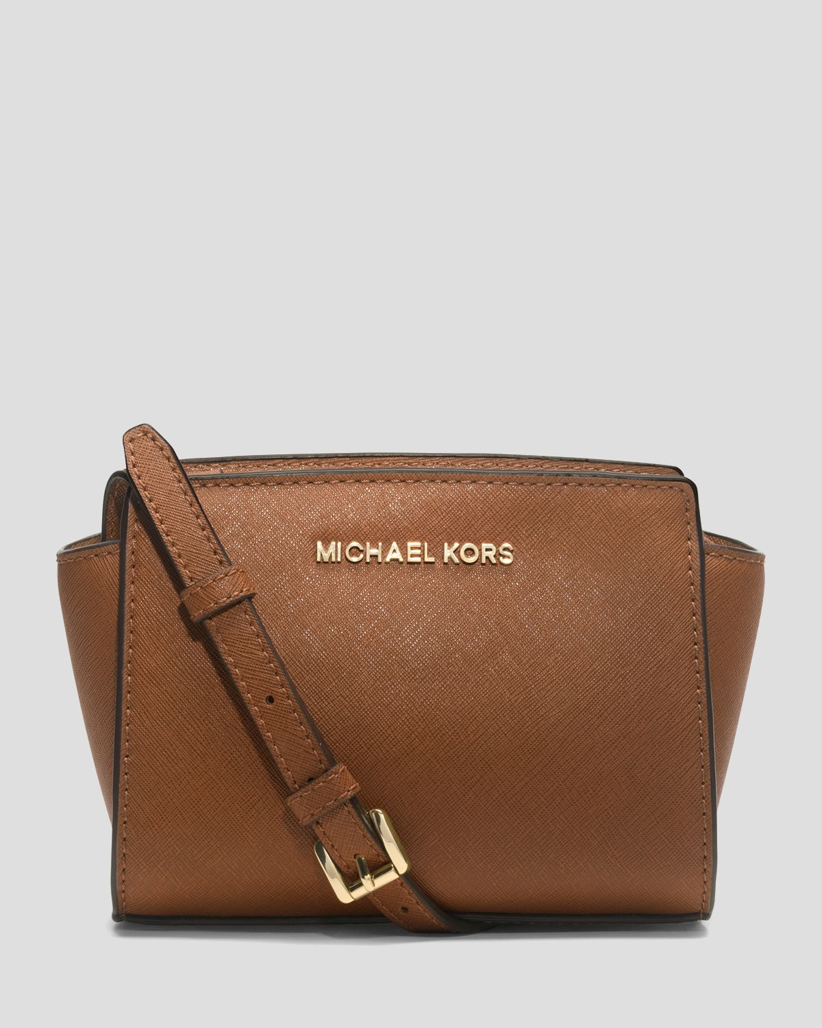 michael michael kors crossbody mini selma in brown lyst. Black Bedroom Furniture Sets. Home Design Ideas