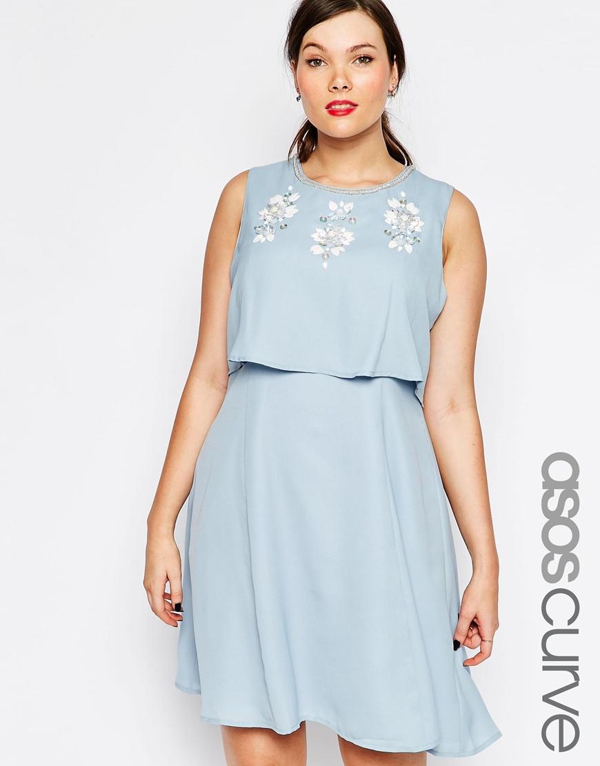 Lyst - ASOS Curve Skater Dress With Embellished Crop Top in Blue 5b5c6121590