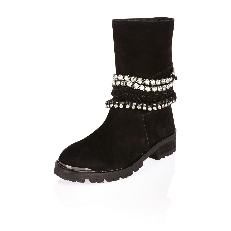479620524ad4 River Island Black Leather Embellished Biker Boots in Black - Lyst