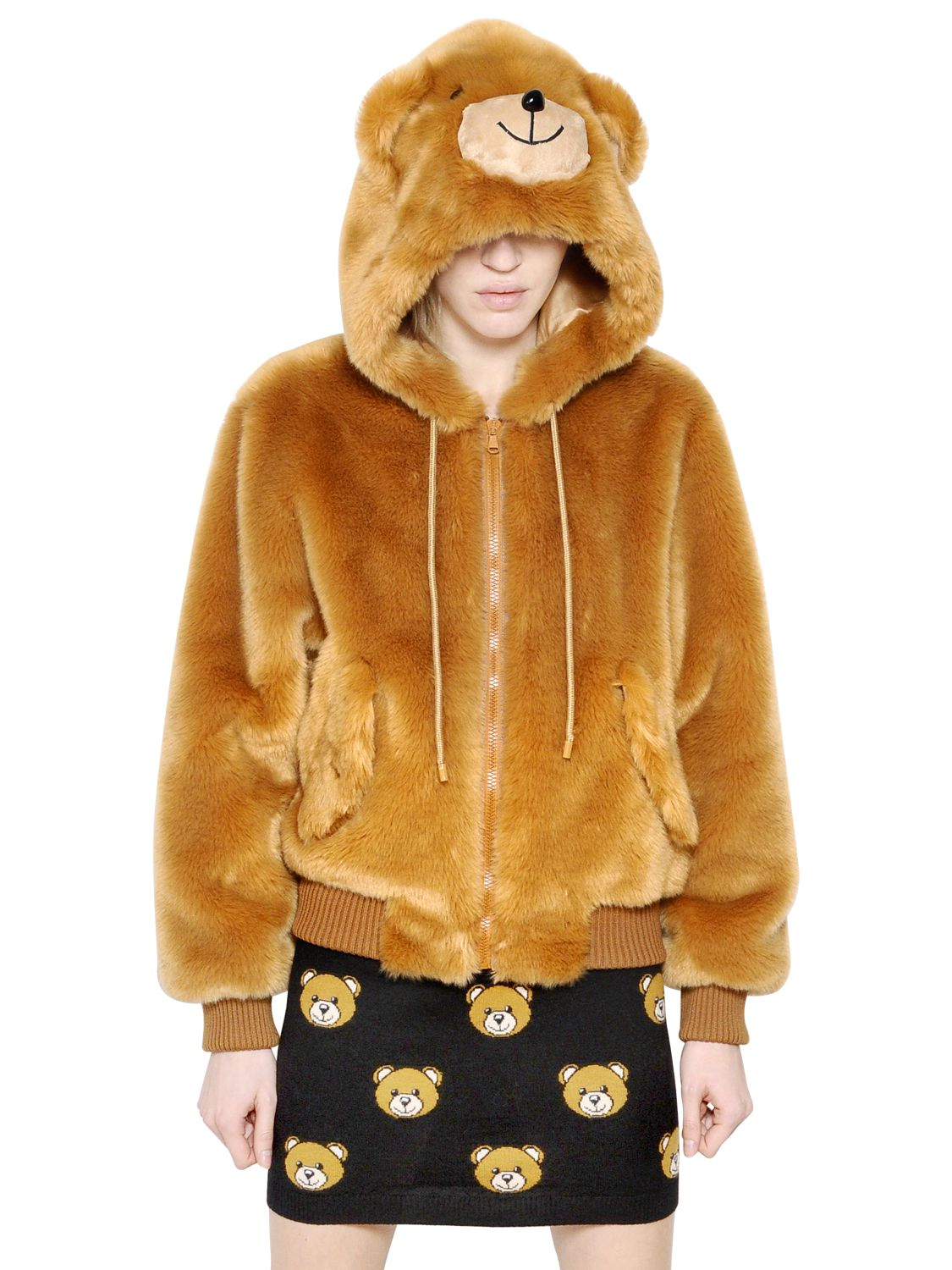 56ee9c224 Lyst - Moschino Teddy Bear Hooded Faux Fur Bomber Jacket in Natural