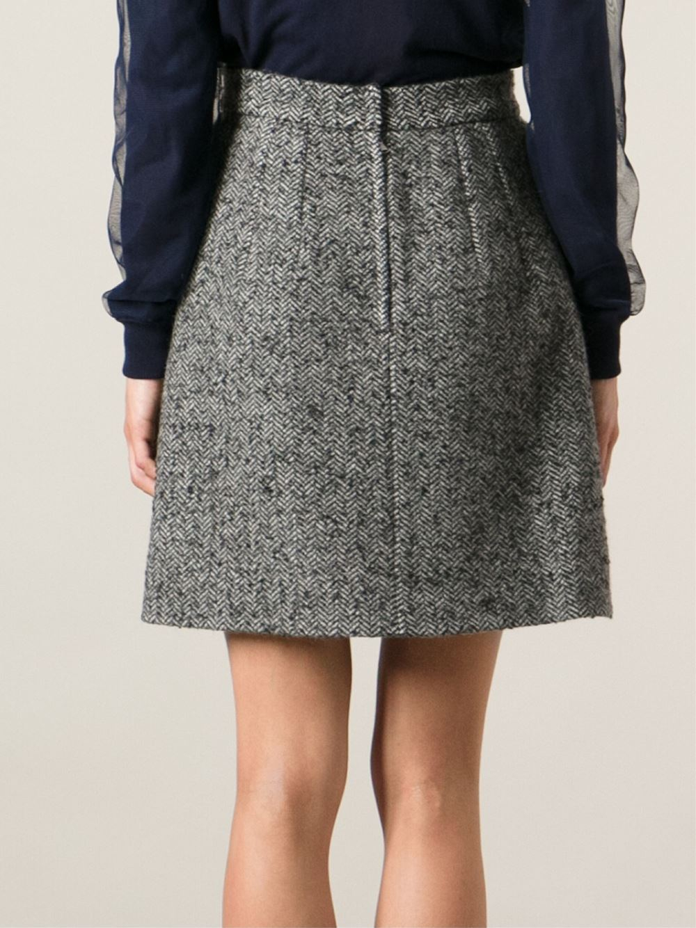 dolce gabbana tweed a line skirt in gray lyst