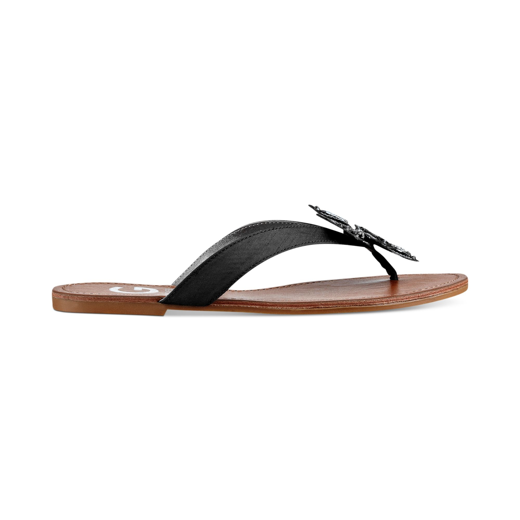 G By Guess Womens Lotuz Flat Thong Sandals In Black  Lyst-6327