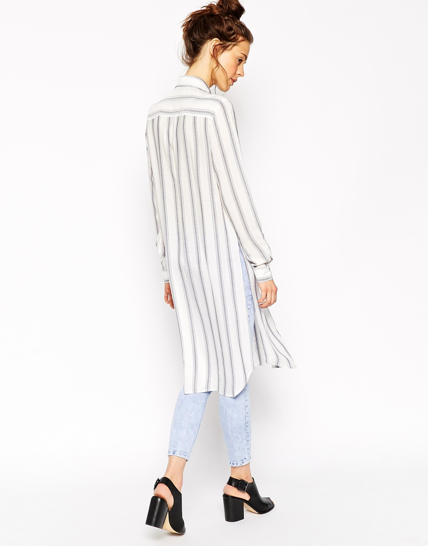 Lyst asos long sleeve blue and white stripe maxi shirt for Blue and white long sleeve shirt