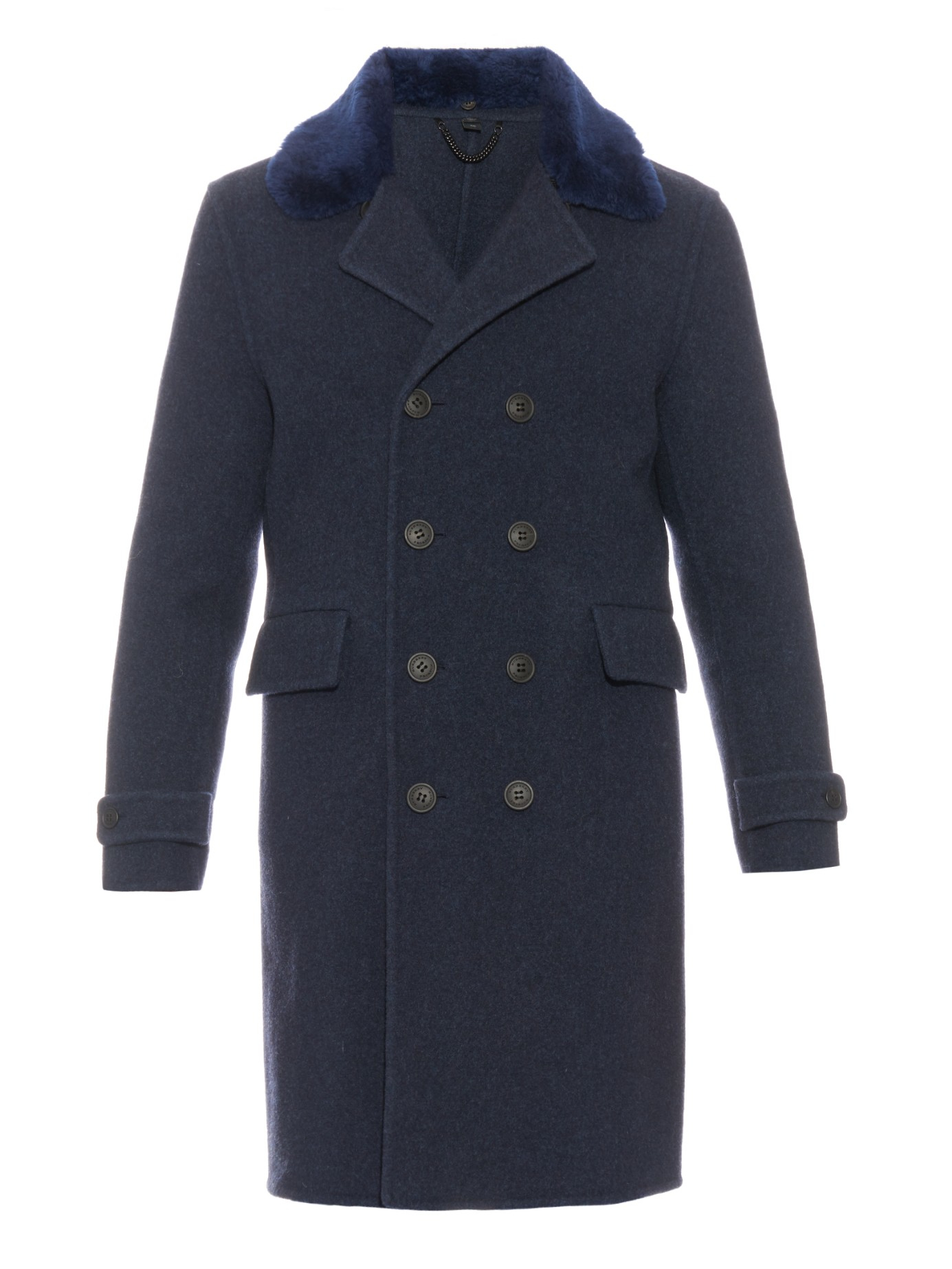 Burberry prorsum Shearling Collar Wool Coat in Blue for Men | Lyst