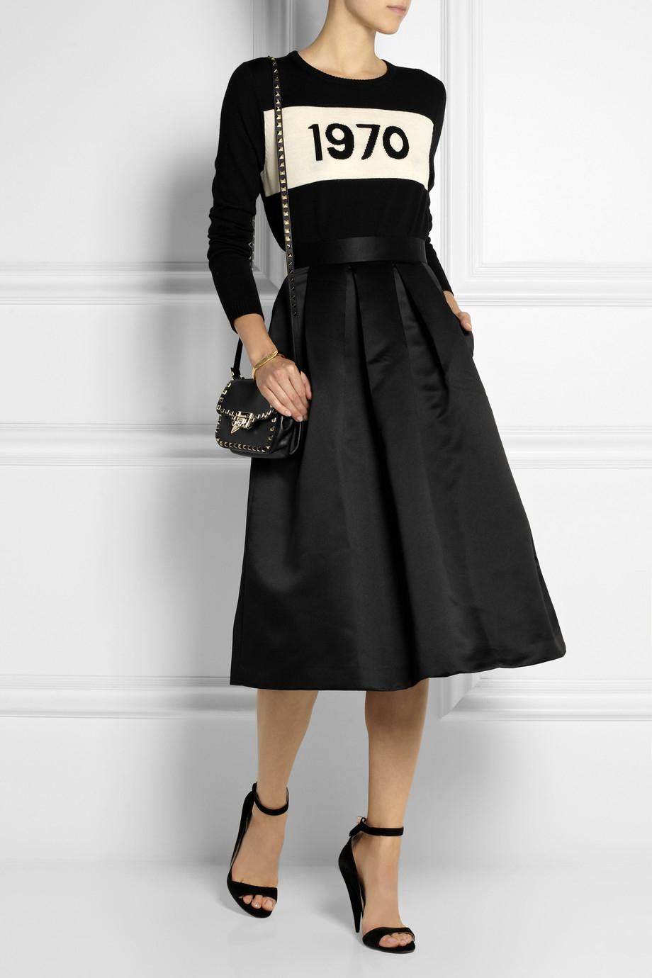 Lulu & co Pleated Brushed-Satin Midi Skirt in Black | Lyst