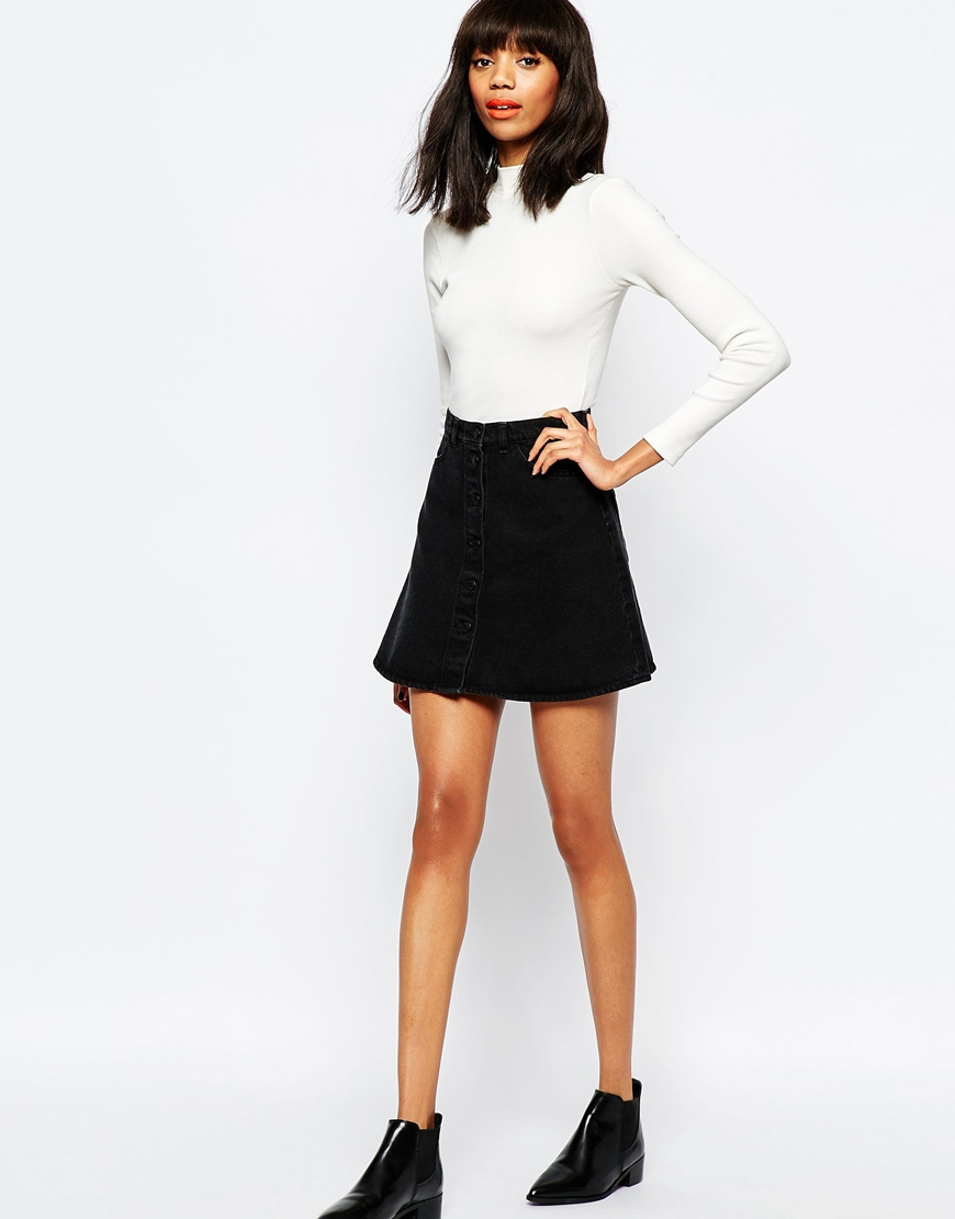 Monki Denim A-line Skirt in Black | Lyst