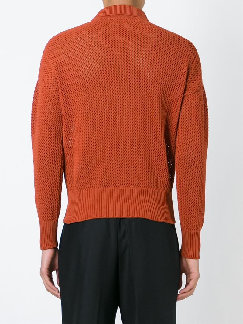 Lyst jil sander open knit polo shirt in orange for men for Knitted polo shirt mens