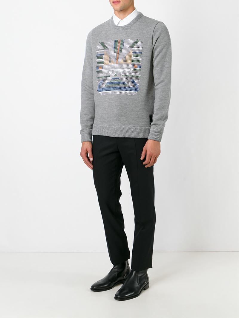 d03bcb0b7d ... italy fendi studded bag bugs sweater in gray for men lyst eb2d6 0fd5f  ...