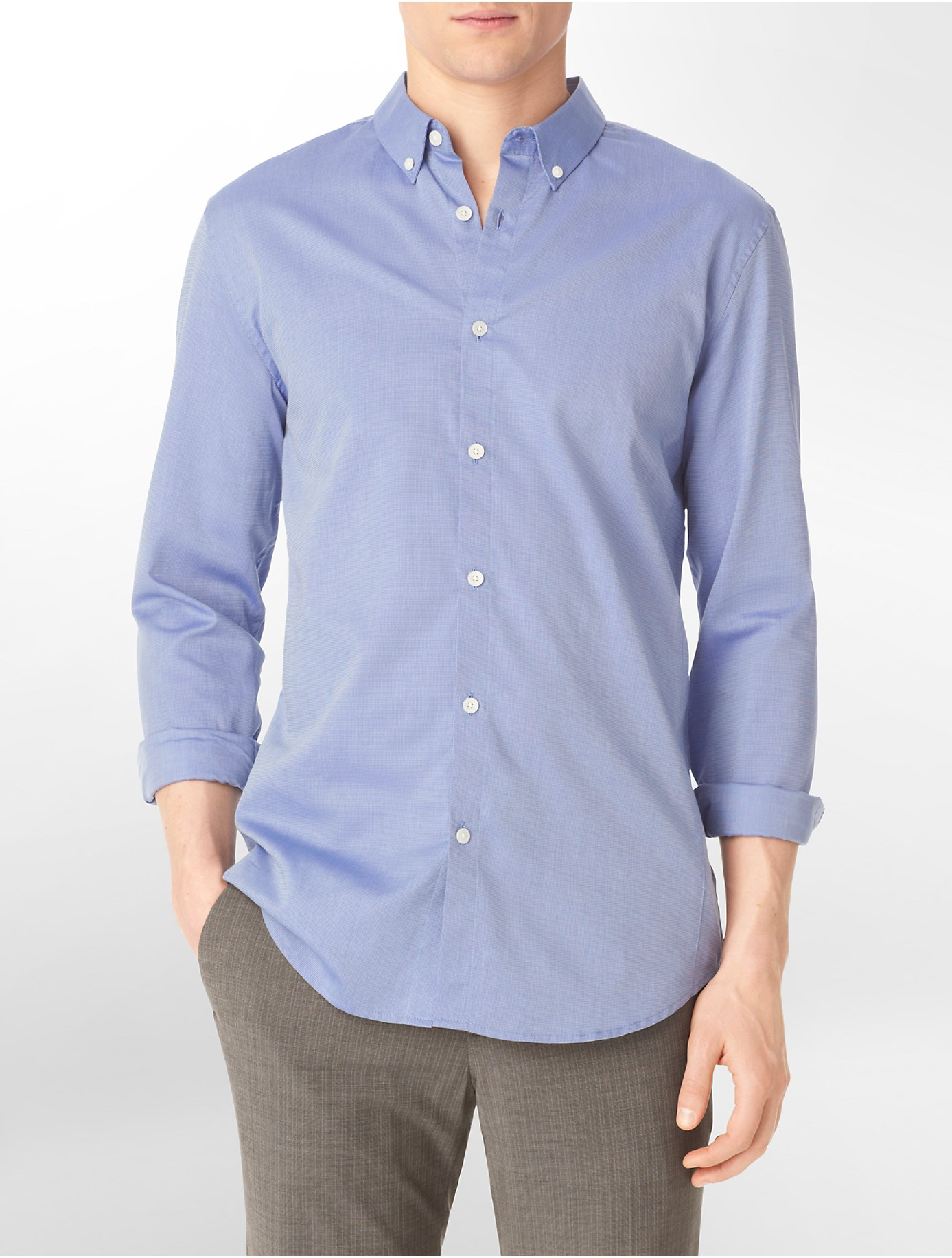 88780ee4835 Lyst - Calvin Klein Body Slim Fit Micro Dobby Roll-up Sleeve Shirt ...