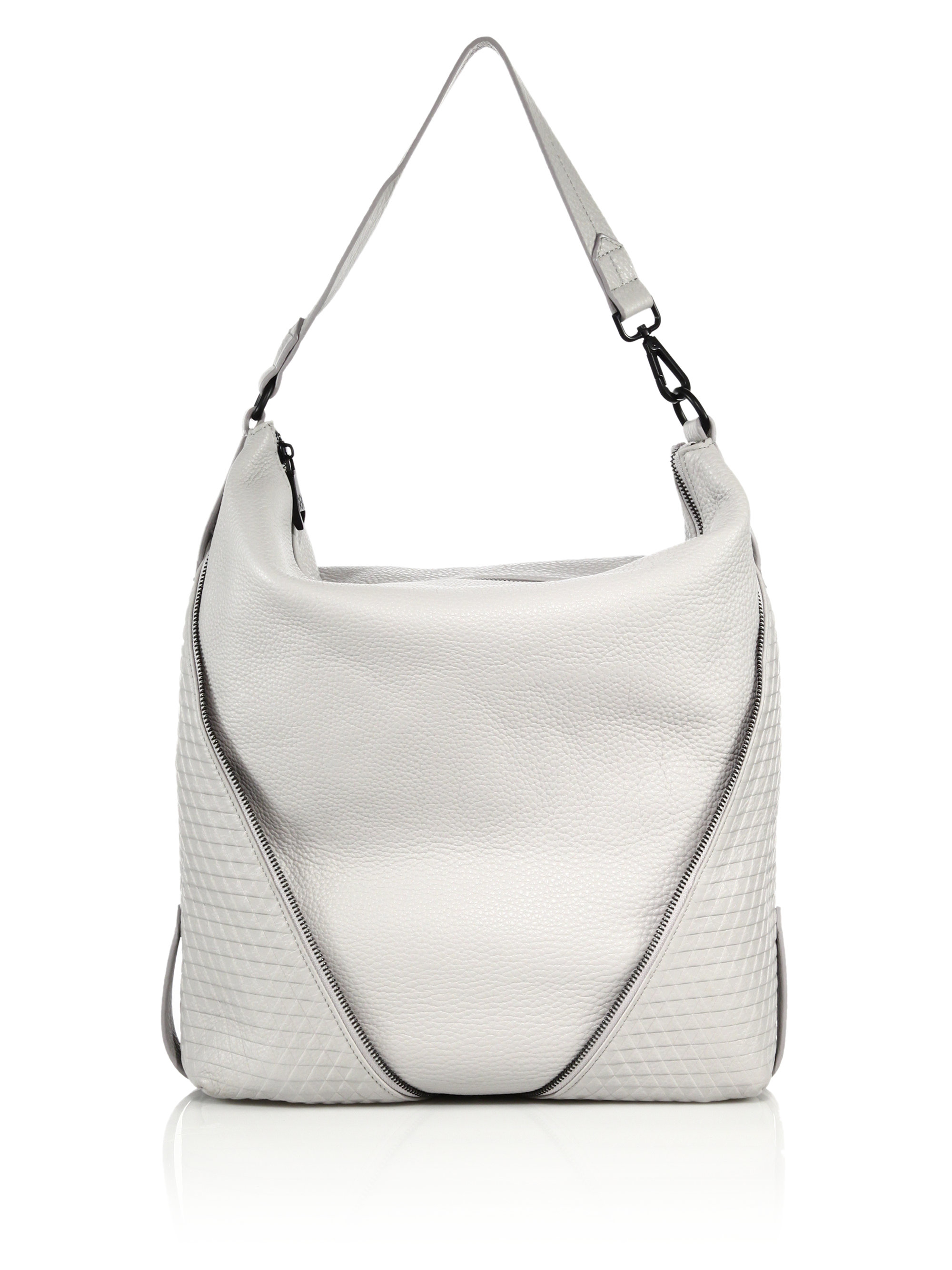 Christopher kon Zipper-trimmed Topstitched Leather Hobo Bag in ...