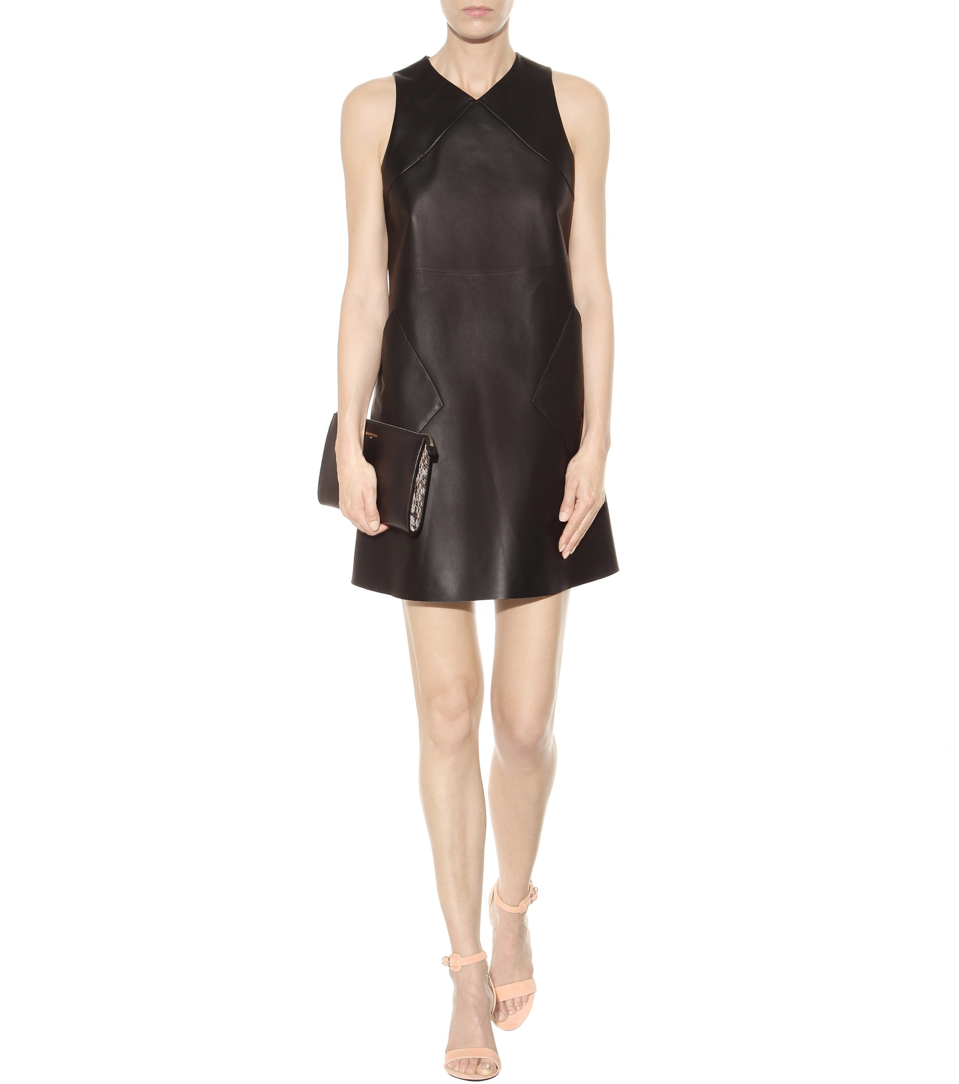 Lyst - Balenciaga Leather Shift Dress in Black e81a5ec1e