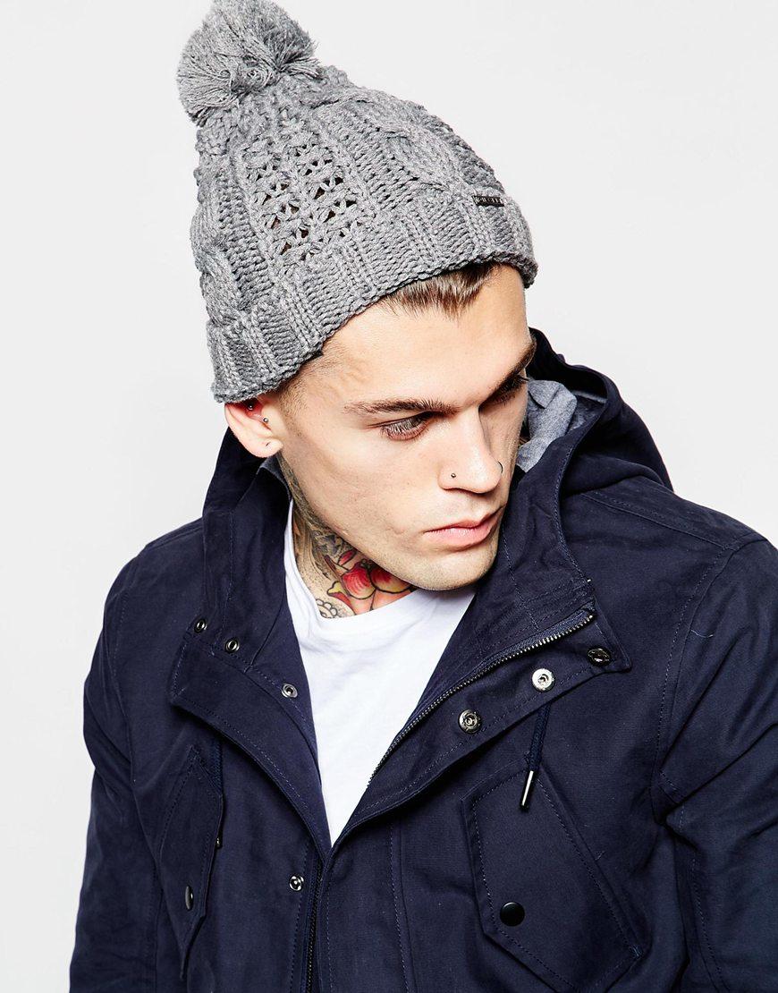 Lyst - DIESEL K-arly Bobble Beanie Hat in Gray for Men 711365f7951