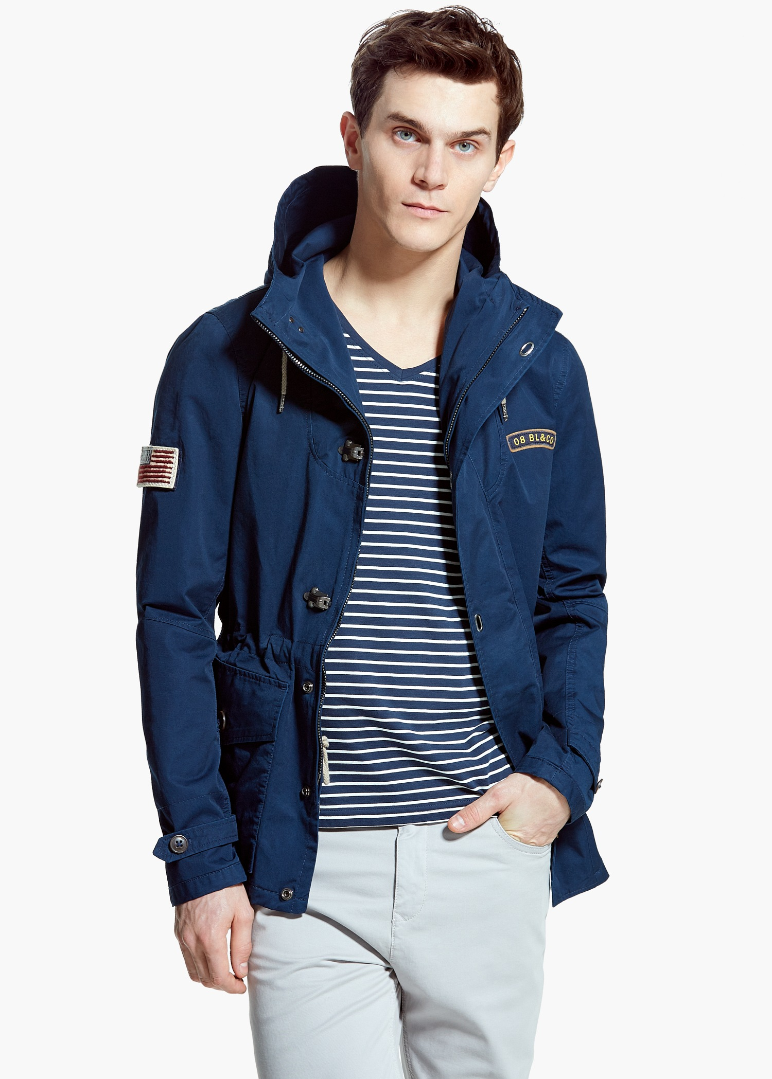 Mango Military-Style Canvas Parka in Blue for Men | Lyst