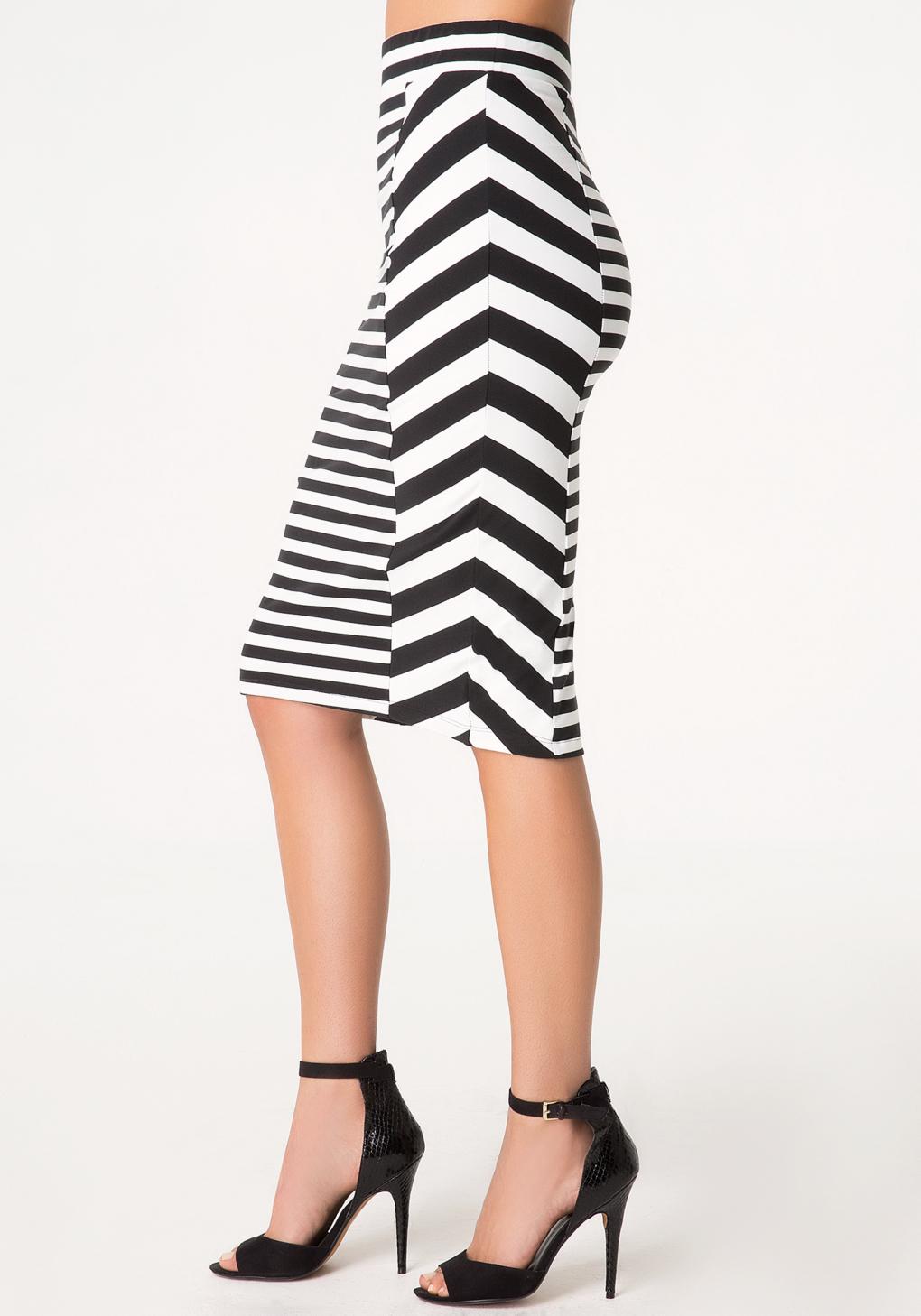 Bebe Stripe Block Midi Skirt in Black | Lyst