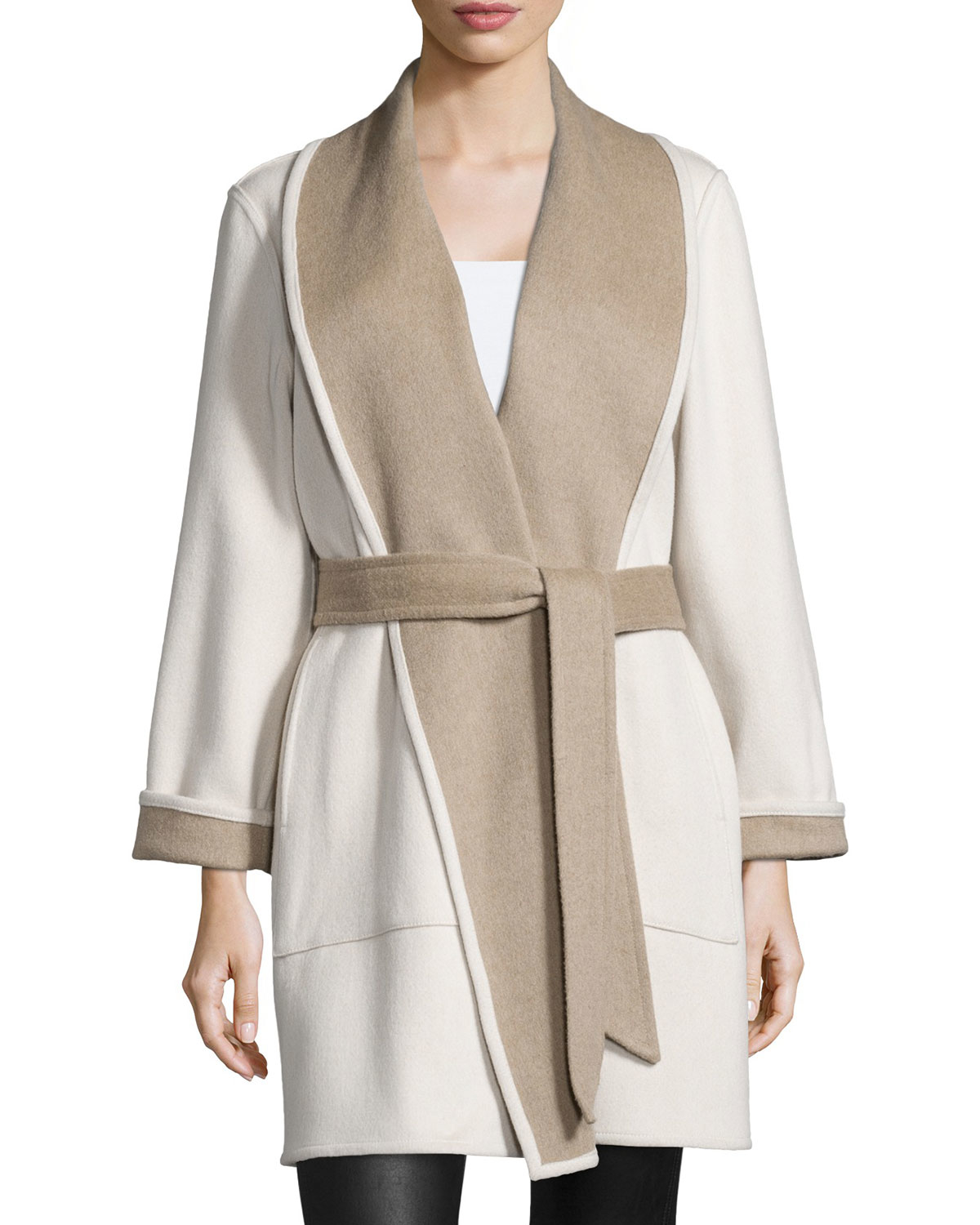 Sofia cashmere Reversible Double-face Wrap Coat in Gray | Lyst