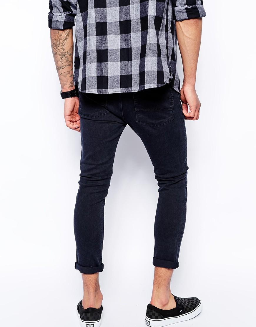 Asos Cropped Super Skinny Jeans In Washed Black in Black for Men ...