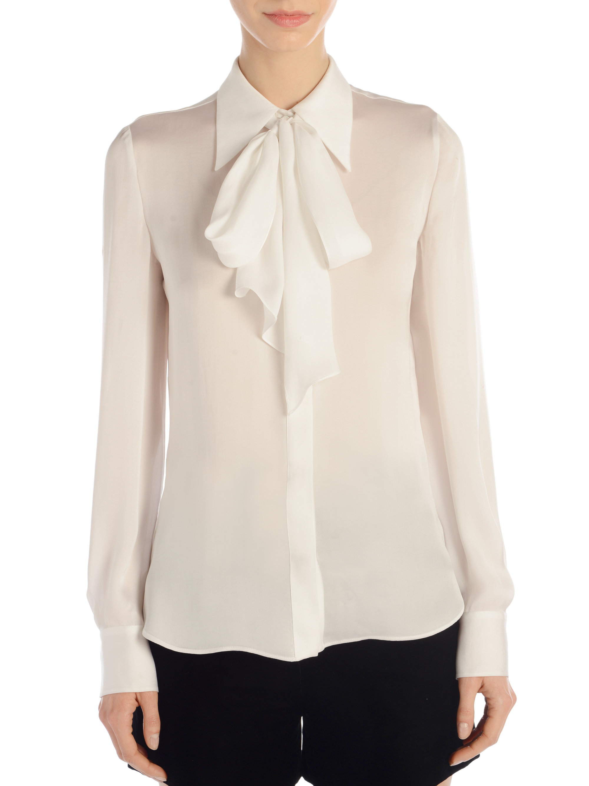 Women'S White Blouse With Tie 37
