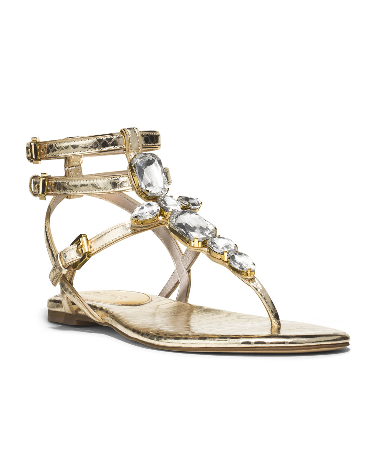 Michael Kors Michael Jayden Jeweled Sandal In Gold Pale