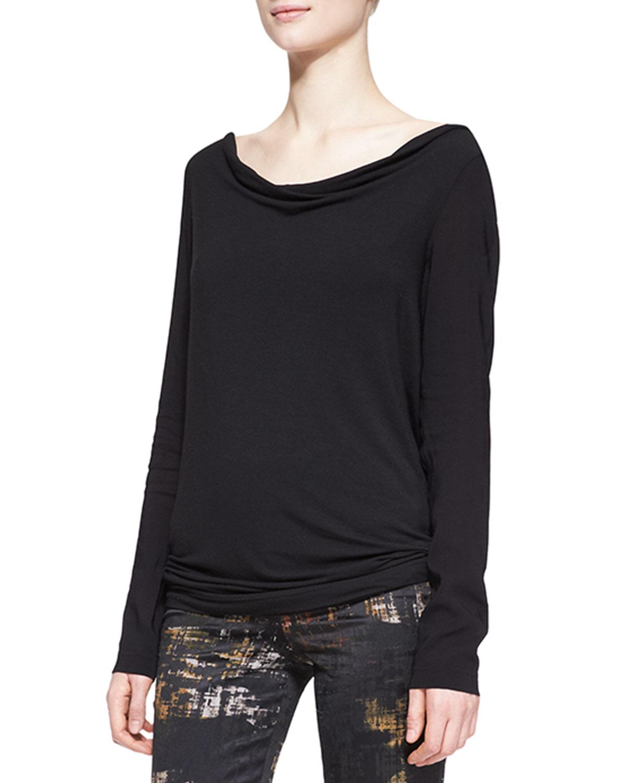 Donna karan long sleeve open back tunic in black lyst for Adam lippes women s long sleeve vee t shirt