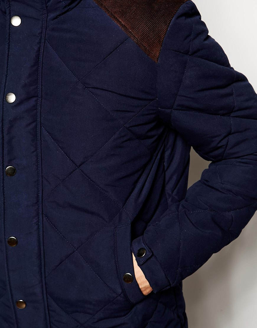 2d3db8b96a1c Lyst - ASOS Quilted Jacket With Contrast Shoulder Patch in Blue for Men