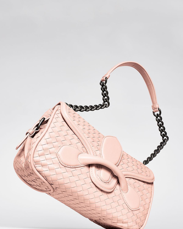 412cd2c68be1 Lyst - Bottega Veneta Intrecciato Medium Flap Shoulder Bag in Pink