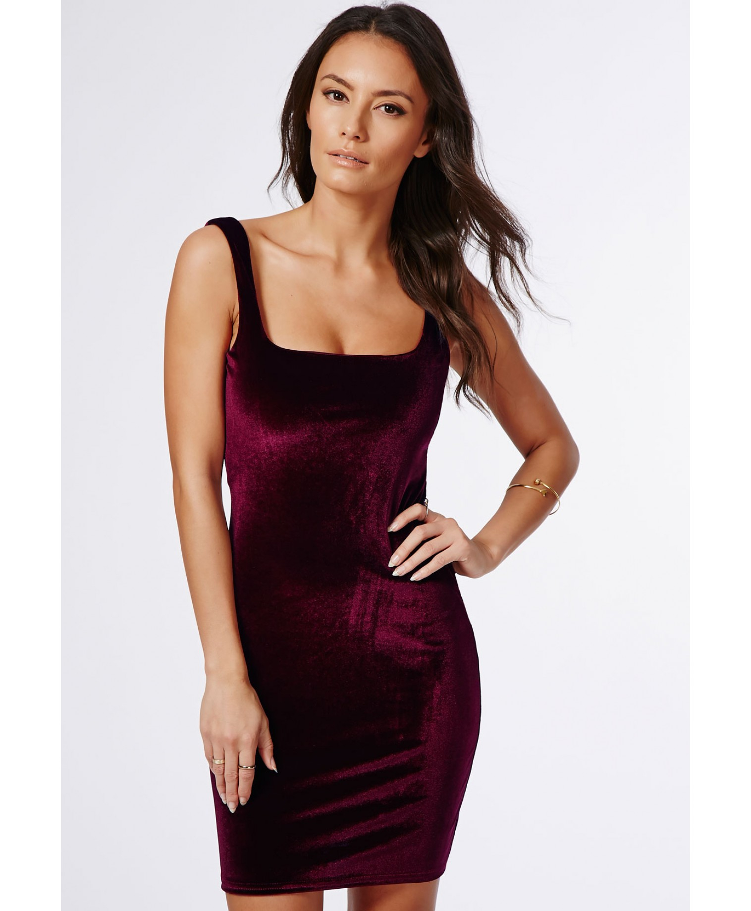 Lyst Missguided Pipin Velvet Bodycon Dress Burgundy In