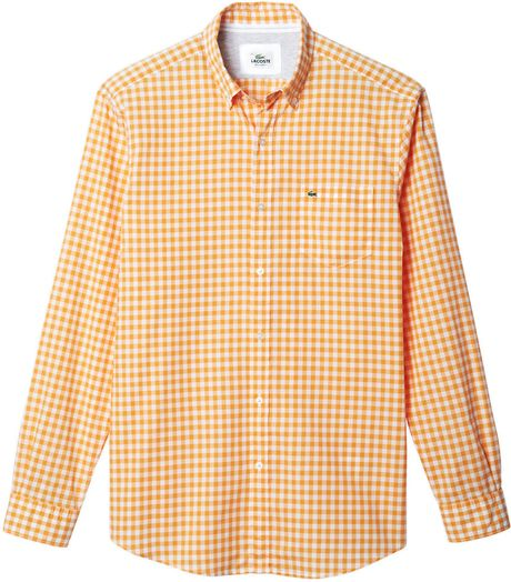 Lacoste Gingham Check Woven Sport Shirt In Orange For Men