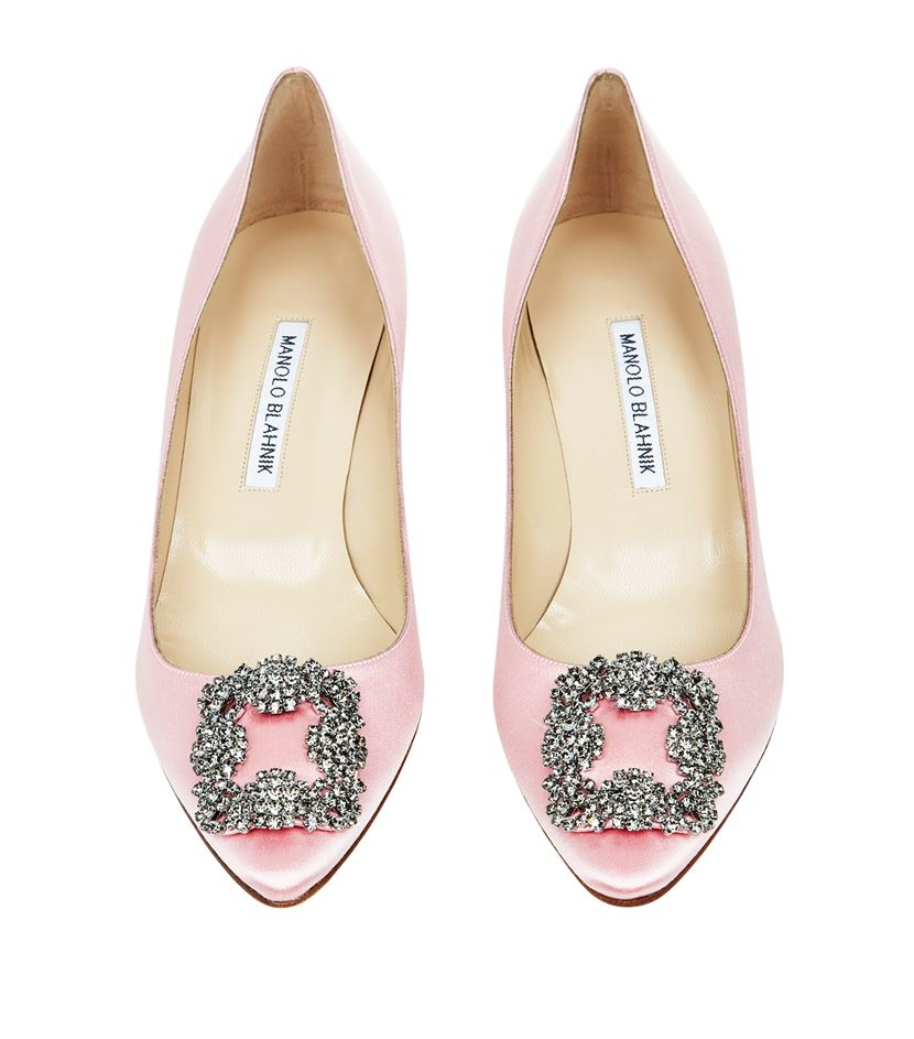 Manolo blahnik hangisi 50 satin pump in pink lyst for Who is manolo blahnik