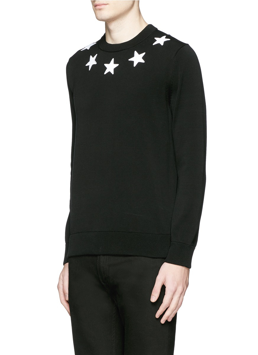 givenchy star appliqu cotton sweater in black for men lyst. Black Bedroom Furniture Sets. Home Design Ideas