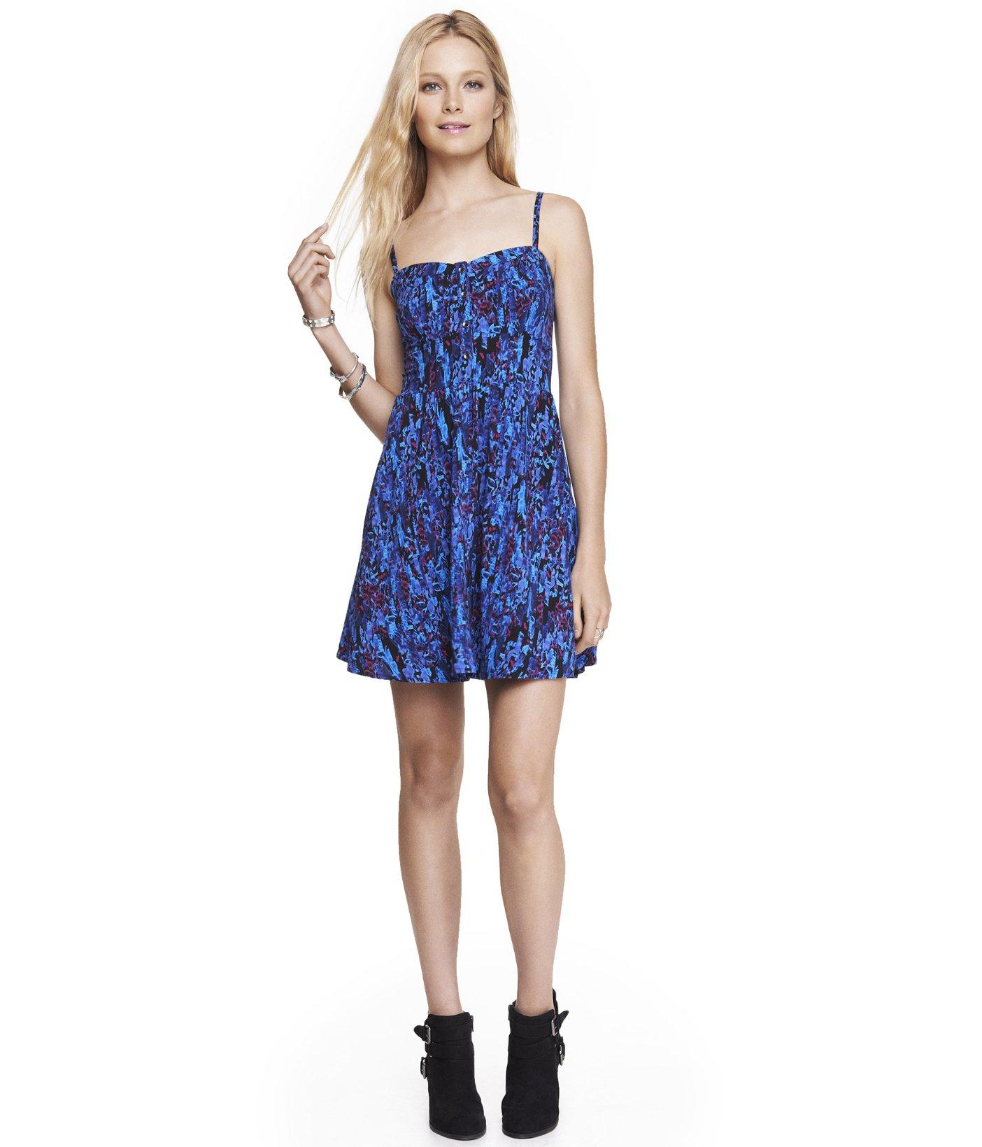 8dfaadcd3d Lyst - Express Blue Floral Cami Sundress in Blue