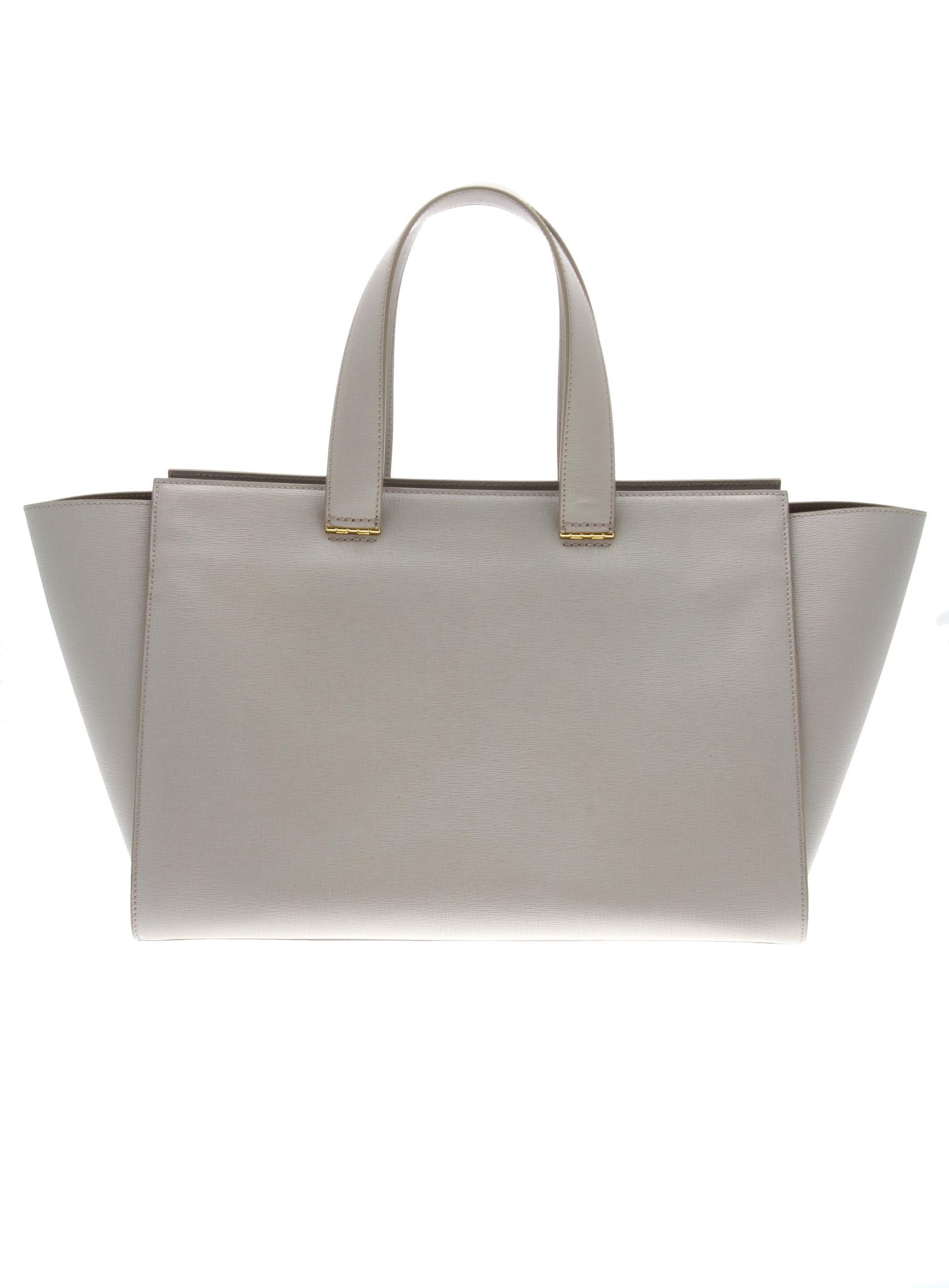 Giorgio armani Shopping in Pelle Saffiano Charni¨¨re Dor¨¦e in Gray ...