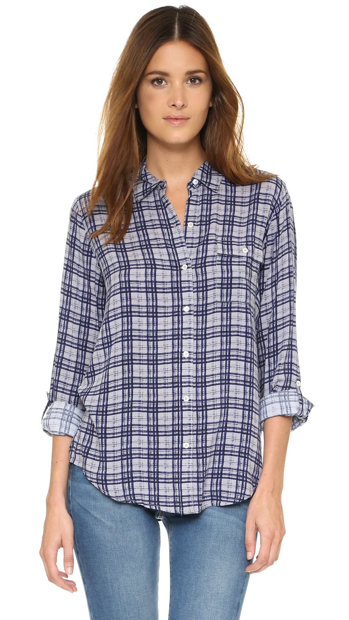 Soft joie onyx button down shirt in blue lyst for Soft joie plaid shirt