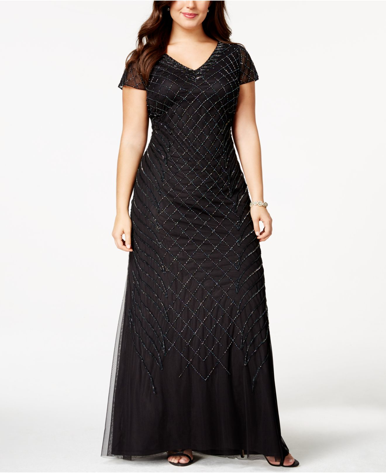 Adrianna Papell Plus Size Cap Sleeve Beaded Gown In
