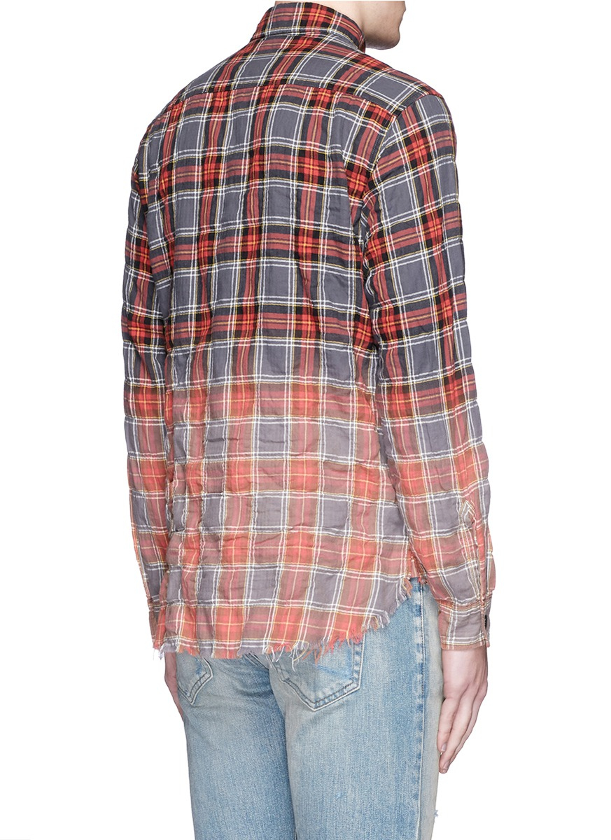 Saint laurent tie die effect check distressed flannel for How to make a distressed shirt