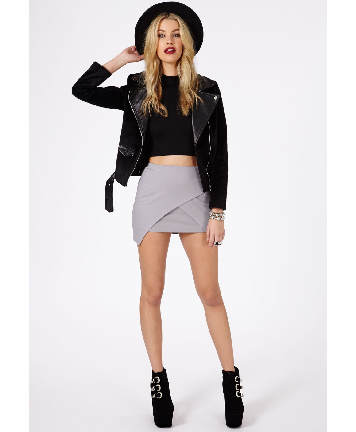 Missguided Lennia Wrap Over Mini Skirt In Light Grey in Gray | Lyst