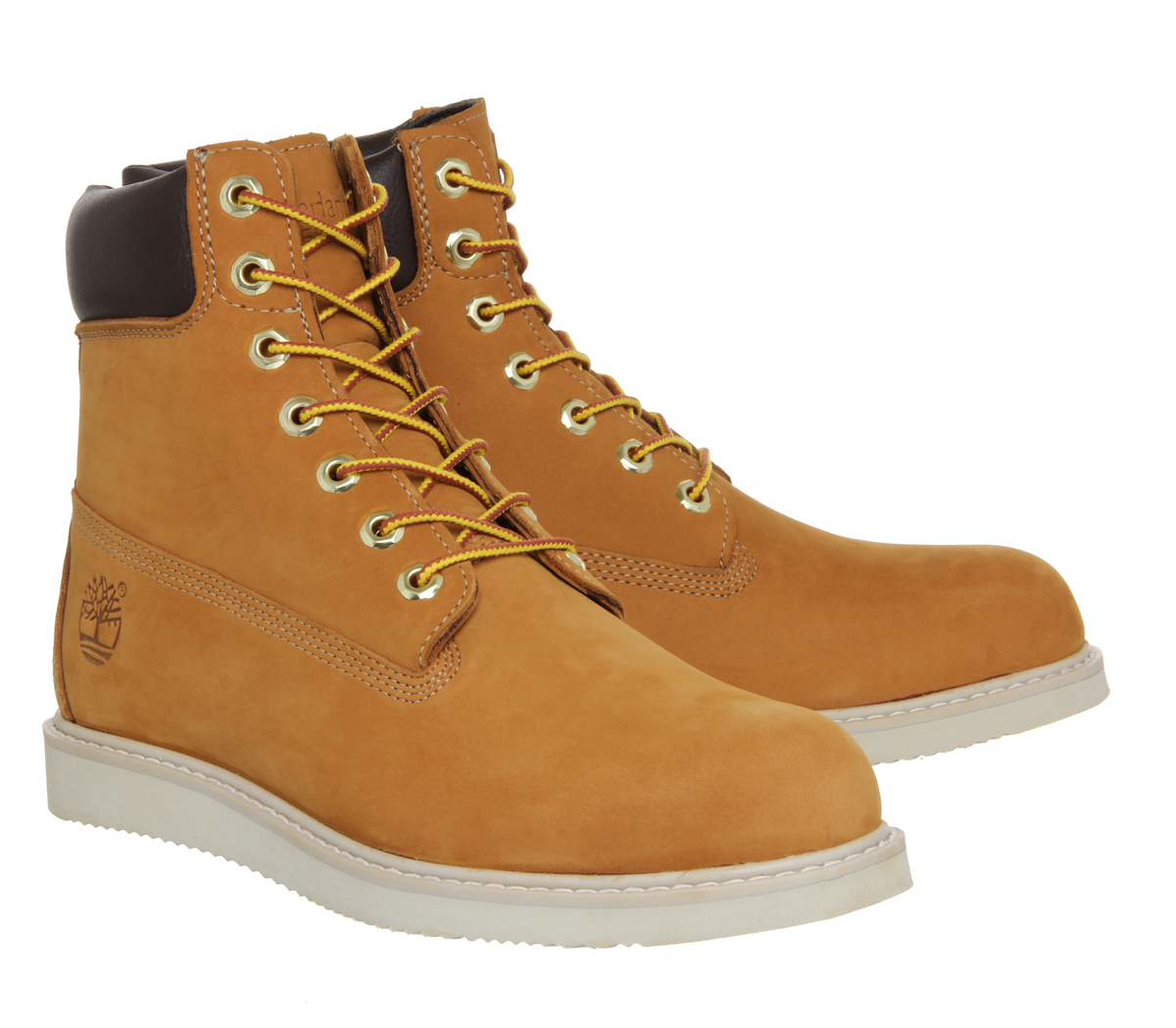 timberland 6 inch wedge boots in beige for wheat